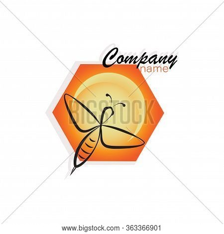 Honey Bee, Honeycomb. Concepts Logo, Emblem. Bee Icon. Honey Flying Bee. Insect.