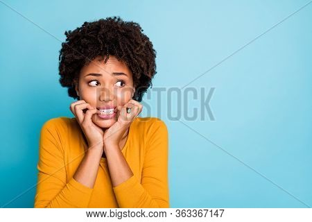 Close Up Photo Of Frustrated Horrified Afro American Girl Look Copyspace Fear Bite Nails Teeth Wear