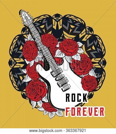 Rock Forever. Guitar, Red Roses On Ornate Mandala Background. Design Concept For Banner, Card, Stick