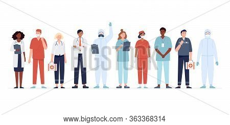 Set Of Multicultural Medicine Workers. Group Of Medical Specialists Standing Together: Doctor, Surge