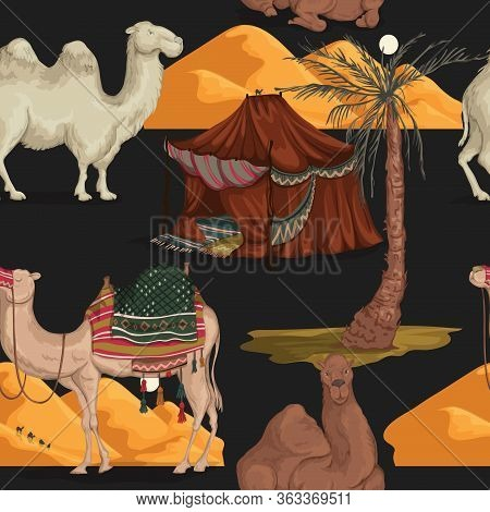 Seamless Pattern With Camels In Different Poses, Sand Dune Of Desert, Nomad Tent And Palm Tree. Vect