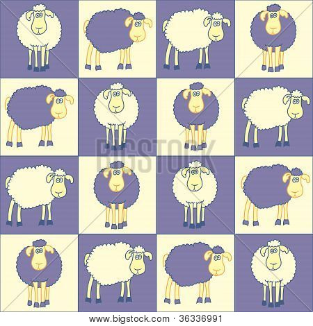 Bautiful seamless background with fun violet sheeps. poster
