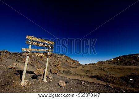 Congratulation-sign At The Stella Point At Mount Kilimanjaro