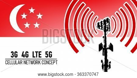 Cellular Mobile Tower Connection Network Concept For Singapore, Vector Illustration Of 3g 4g Lte And