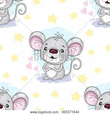 Cute Seamless Pattern With Funny Mouse. Cute Cartoon Mouse. Hand Drawn Vector Illustration With Mous