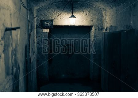 Moscow 17.11.2019. Dark Corridor Of Old Underground Soviet Bunker. Ussr Bunker Built In The Middle O