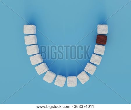 Sweet Tooth Dental Health Care Concept. Sugar Teeth, A Single Molar Is Brown. Health And Diet Symbol
