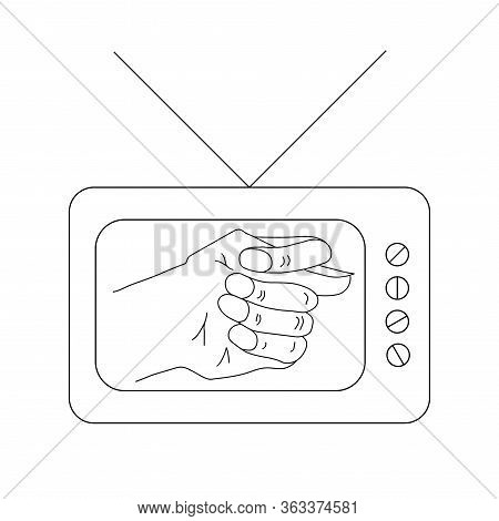 The Vector Picture Or Icon Of Old Tv Set Or Television With Antenna With Fico Or Fog Gesture On Disp
