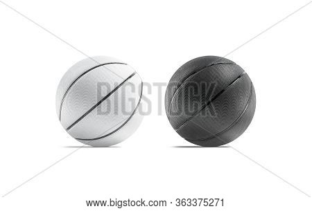 Blank Black And White Rubber Basketball Ball Mockup Set, Isolated, 3d Rendering. Empty Textured Bal