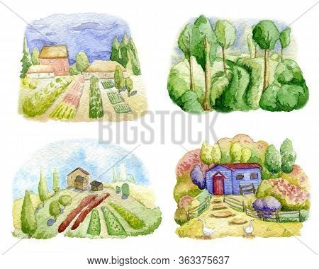 Old Farms And Rural Landscapes Set. Fields, Houses, Gardens, Trees, Domestic Animals. Organic Farm,
