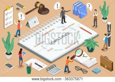 Regulatory Compliance Flat Isometric Vector Conceptual Illustration.