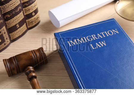 Immigration Law Book And Gavel On Wooden Table