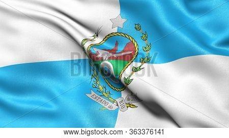 Rio de Janeiro flag waving in the wind. Brazilian federate state flag.