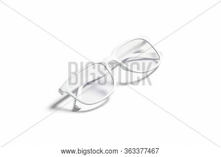 Blank White Eye Glasses With Frame Mockup, Side View, 3d Rendering. Empty Optic Accessory For Protec