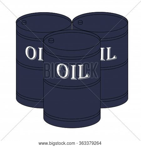 Vector Illustration, Icon Or Sign Of Three Barrels With Oil.  The Symbol Of Oil Out Put, Extraction,