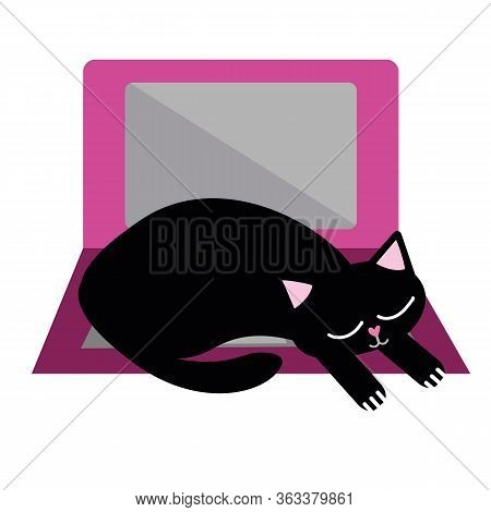 Cute Cartoon Pet Cat And Laptop Vector Illustration. Sleepy Black Kitty Snoozes On Keyboard And Disr