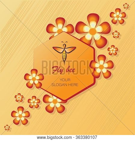 Flying Bee, Flowers, Honeycombs. Concepts Emblems, Labels. Linear Bee Icon. Honey Bee Among Flowers.
