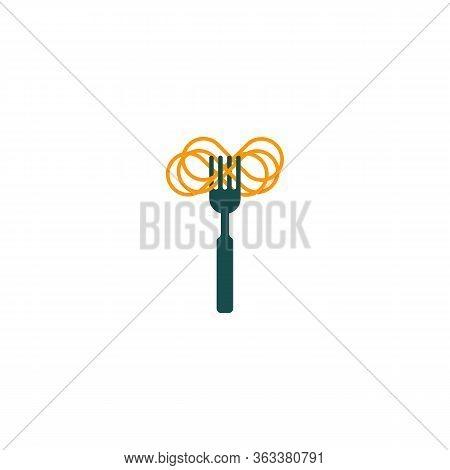 Fork And Pasta Minimal Logo, Pasta Symbol, Italian Food, Menu Element With Spaghetti, Vector Graphic