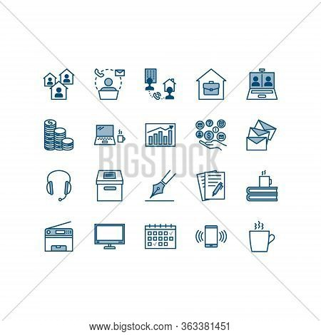 Teleworking , Working From Home, Work Remote Vector Icon Set. Vector Illustration Included Icon As F