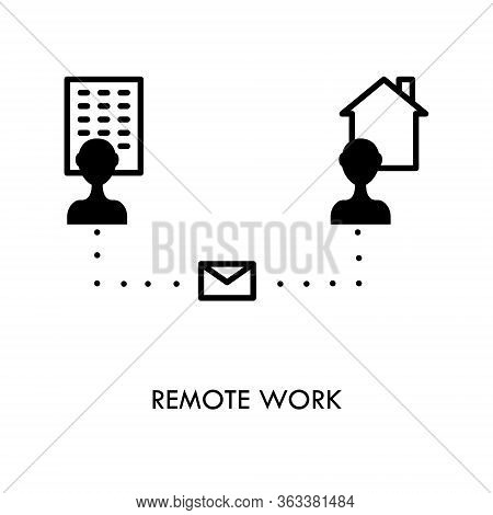 Teleworking , Working From Home, Remote Work Vector Icon. Stay Safe At Home And Working.