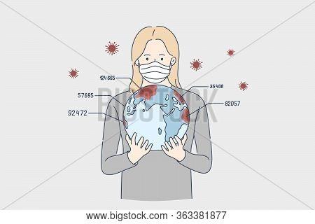 Report, Biohazard, Coronavirus, Danger Concept. Young Woman Cartoon Character In Medical Face Mask H