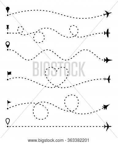 Airplane Route Set, Dashed Line Trace And Plane Routes Isolated On White. Plane Line Path, Aircrafts