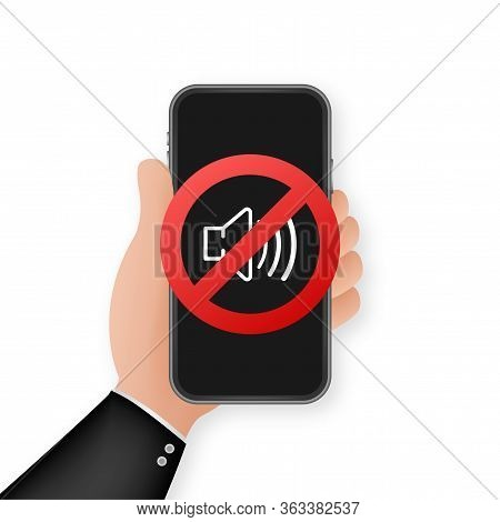 No Sound Phone. Telephone Call. Cell Phone Vector Icon. Device Icon. Vector Stock Illustration.