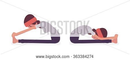 Woman In Yogi Sports Wear Practicing Yoga, Doing Seated Forward Bend Exercise, Paschimottanasana Pos