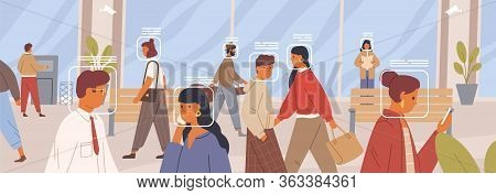 Facial Recognition Concept. Verification Of Human Face In The Crowd Horizontal Banner. Electronic Id