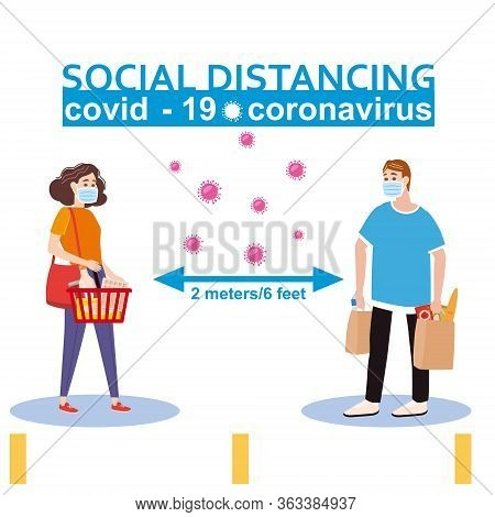 Social Distancing And From Covid-19 Coronavirus Outbreak Spreading Concept Prevention. Maintain A Sa