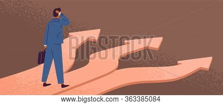 Thoughtful Man Standing At Crossroads. Way Choice Concept. Start Of Career. Confused Businessman Thi