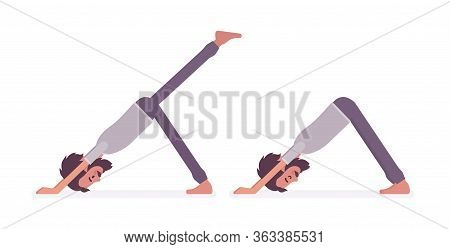 Young Man In Yogi Sports Wear Practicing Yoga, Doing Downward Facing Dog, Adho Mukha Svanasana Pose,