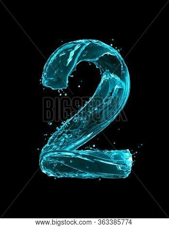 Number 2 Made Of Turquoise Splashes Of Water On Black Background. 3d Illustration