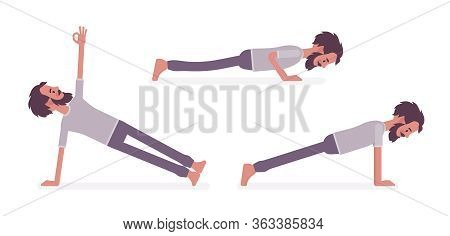 Man In Yogi Sport Wear Practicing Yoga, Doing Push And Press Ups, Phalankasana, Plank Exercise, Vasi