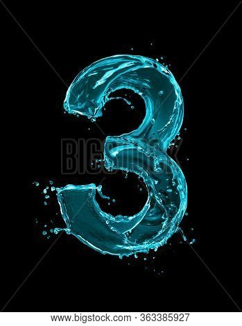 Number 3 Made Of Turquoise Splashes Of Water On Black Background. 3d Illustration