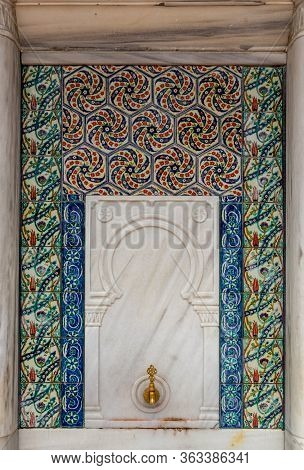 View Of An Antique Turkish Ottoman Style Faucet With Colorful Traditional Ceramic Tiles With Traditi
