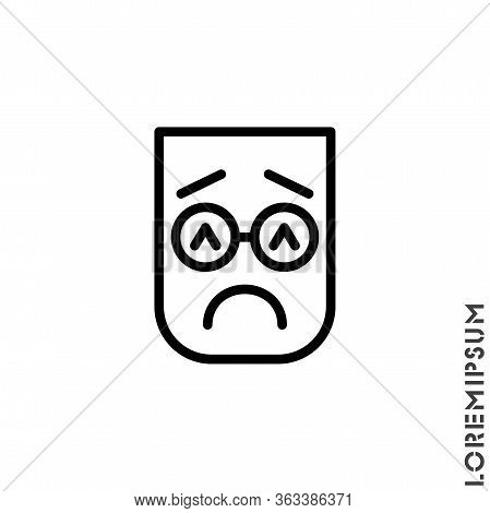 Sad And In A Bad Mood Emoticon Icon Vector Illustration. Outline Style. Depressed, Sad, Stressed Emo