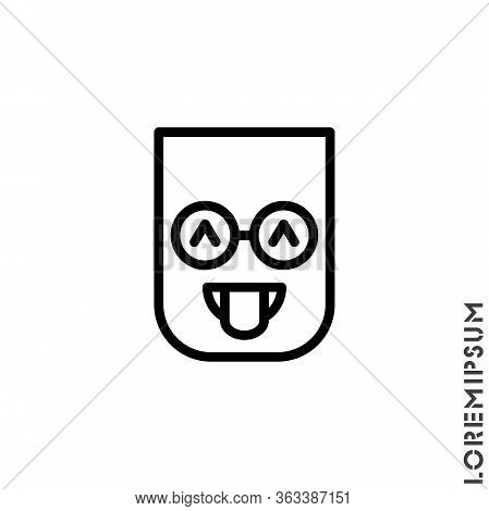 Teasing Emoji. Vector Icon Of Cartoon Teasing Emoji With Tongue And Winking Eyes In Outline Style Em