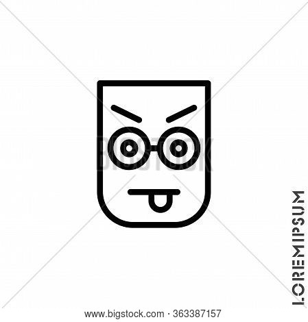 Mocking Teasing And Angry. Showing Tongue And Frowning Eyebrows Emoticon Icon Vector Illustration. O
