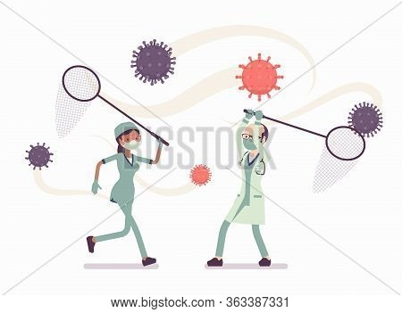 Doctors, Health Care Workers Catching Virus With A Butterfly Net. Physicians, Nurses, Medical Staff