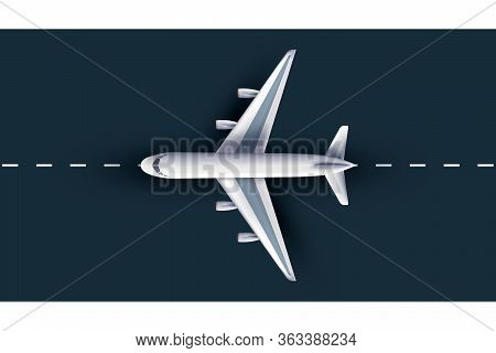 Airliner View From Above, Realistic 3d Plane. Passenger Plane On Runway, High Detailed 3d Airliner