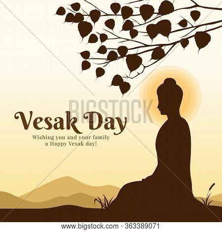 Vesak Day With Scenery The Lord Buddha Meditation Under Bodhi Tree Vector Design