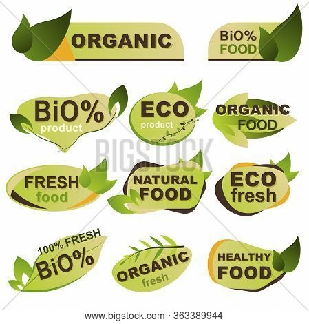 Eco Products Badges Set. Natural Organic Food, Bio Products And Healthy Nutrition Isolated Stickers.
