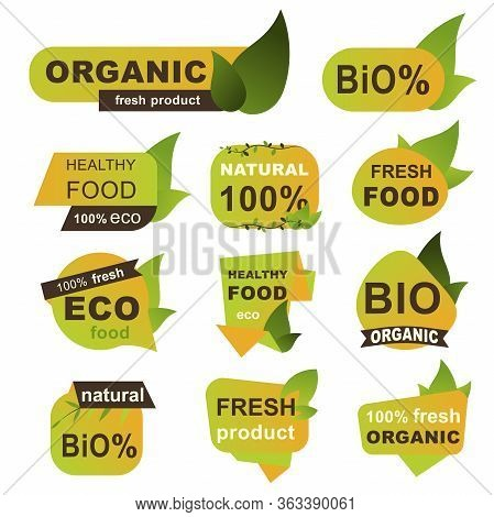 Organic Fresh Products Badges Set. Local Food Farming Badges With Green Leaves. Natural Organic Food
