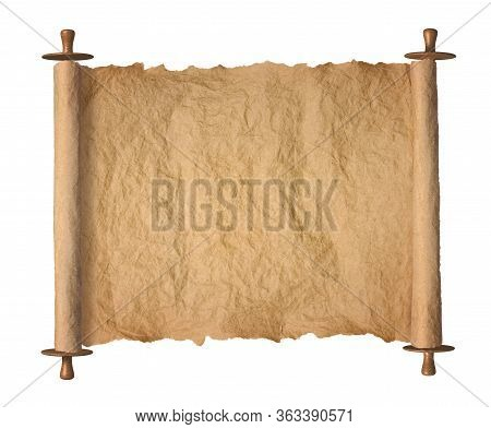 Old Rolled Blank Torah Parchment Paper Roll On White Background