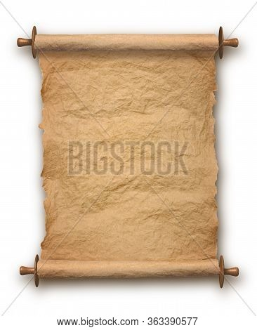 Old Rolled Blank Parchment Paper Roll Vertical On White Background, With Drop Shadow