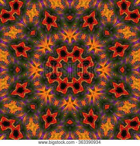 Colorful Abstract Square Symmetry Background. Seamless Geometric Pattern Tracery Ornament For Design
