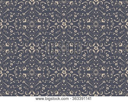 Damask Seamless Pattern Background. Vector Luxury Old Fashioned Damask Ornament, Royal Victorian Sea