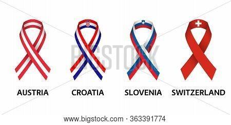 Set Of Four Austrian, Croatian, Slovenian And Swiss Stripe Ribbons. Pray For Austria, Croatia, Slove