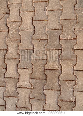 The Texture Of The Concrete Paved Tile On The Street. Concrete Paving Slabs.